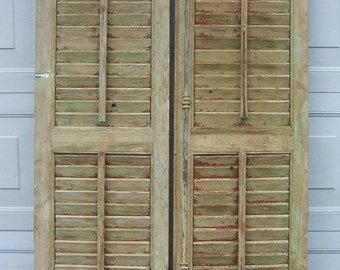 old shutters,vintage wood shutters,old mediterranean wood shutters,chippy red,green paint,reclaimed salvage window shutter,architectural art