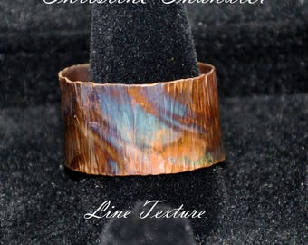 Flame Painted - Adjustable Copper Ring - Wide 1/2 inch band - Line textured  - Christine Chandler - This is the Actual Ring you will Receive