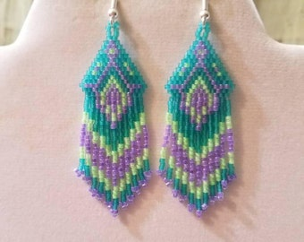Native American Style Turquoise, Purple and Green Earrings Southwestern Boho, Peyote, Gypsy, Brick Stitch, Great Gift  Ready to Ship