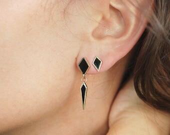 Diamond Shape 14k Gold Studs - Black Enamel Hand Crafted Earrings - Black Gold Studs - Geometric Diamond Studs - Gold Earrings For Women