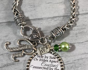 COUSIN Gift, JEWELRY for Cousin, Gift for COUSIN, Best Friend, Maid of Honor, Matron of Honor, Your Choice of Color. Love, Bracelet, Initial