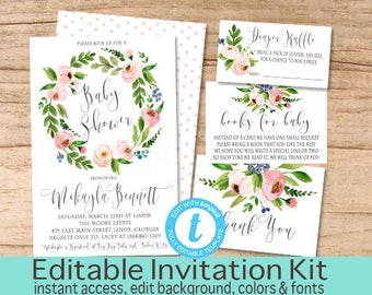 Baby Girl Shower Invitation Template, Pink Floral, Wreath Baby Shower invitation Kit, Floral Invitation Template, EDITABLE, Instant Download