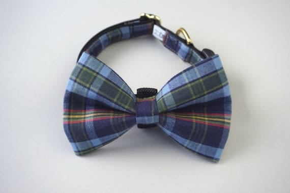 Blue, Yellow, Green, and Red  Plaid Dog Bow Tie and Collar