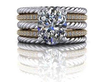 Diamond Bridal Set - Moissanite Ring - Oval Engagement Ring - Diamond Anniversary Bands Set - Insieme™ Bridal Stackables