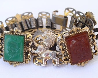Victorian Revival Chivalric Lion Bracelet wtih Bookchain Links