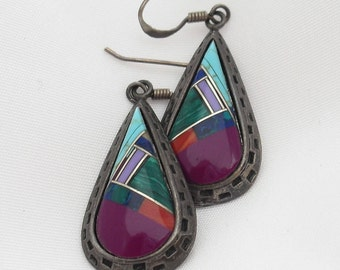 Zuni Inlay Earrings - Malachite Turquoise, Sugilite - Sterling Silver Marked 925- Semi Precious Gems Native American Jewelry