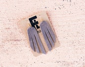 Leather Earrings / Fringe / Gray Suede
