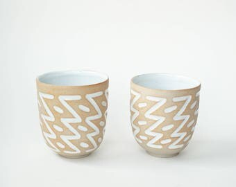 "set of 2 hand-carved ceramic cups / tumblers / mugs / raw clay with bright white glaze / zig zag pattern // ""GROOVE"""