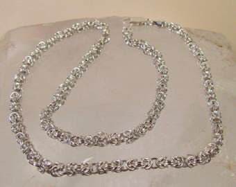 "Ornate 925 Sterling Silver Byzantine Link Chain Necklace, 15.75"", Made in Italy"