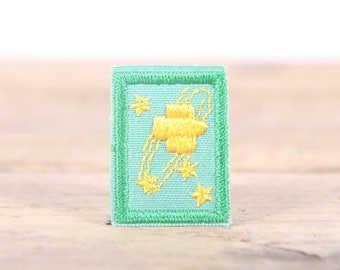 "Vintage Girl Scout Patch / 1970's-80's Scout Patch / Green Yellow Stars Patch / Old Stock Scout Patch / 1.5"" Girl Scouts Patch / Scout Badge"