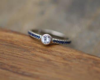 White and Blue Sapphire Alternative Engagement in 14 kt White Gold - Sapphire Gold Ring - White Sapphire Bezel Ring - Sapphire Ring