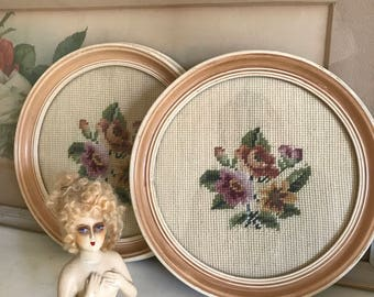 "PAIR of Vintage Framed Needlepoint Roses - (2) Vintage Needlework Bouquet's of Roses - 9"" Round Wood Frames"