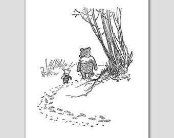 Black and White Nursery Wall Art (Best Friend Art, Winnie the Pooh and Piglet Print)