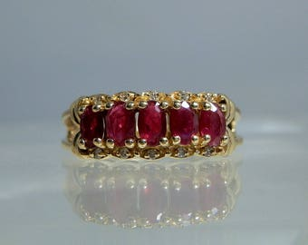 Effy Bita Vintage Ruby and Diamond 14k Yellow Gold Ring Size 8.75 Elegant Design Well Matched Ruby Selection DanPickedMinerals
