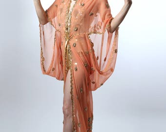 Peach & Gold Embriodered 1920's Deco Style Gown