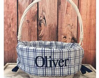 Personalized Easter Basket Liner, Easter Basket Liner, Blue Check  Easter Basket Liner, Personalized Basket Liner For Boys