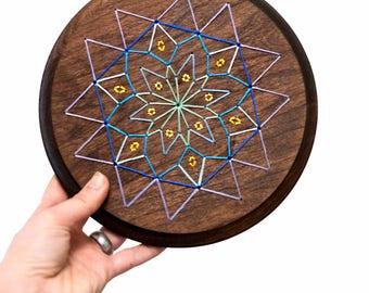 Mandala wood sign, mandala string art, embroidered mandala, wood embroidery, bohemian wood sign, stitched wood sign, colorful mandala art