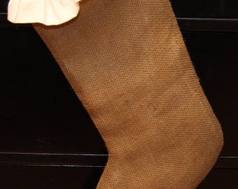 Burlap Ruffled Christmas Stocking