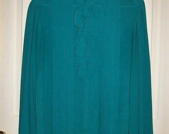 Vintage Ladies Teal Green Ruffled Front Jabot Blouse by Chaus Size 16 Only 8 USD