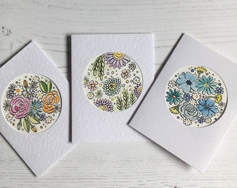 Hand Painted, Original Watercolour Floral Greeting card