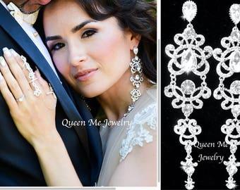 "Long Crystal Chandelier earrings Crystal Statement earrings  5"" Sterling posts Chandelier Wedding earrings Brides earrings ANGELINA"