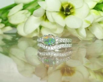 Australian Opal Ring, Opal Wedding Set, Opal Engagement Set, Opal Engagement Ring, Opal Ring, Opal Sterling Ring, Opal Silver Ring, Opal