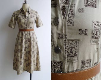 15% SALE (Code In Shop) - Vintage 70's 'Postage Paid' Stamp Novelty Print Shirt Dress XS or S