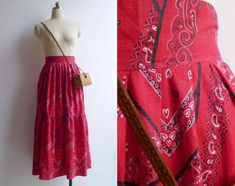 10-25% OFF Code In Shop - Vintage 50's Red Bandana Paisley Print Cotton Skirt XS