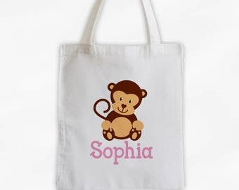 Personalized Monkey Canvas Tote Bag - Custom Travel Overnight Bag for Girls in Pink - Reusable Tote (3004)