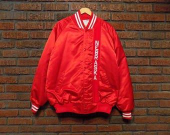 Vintage Nebraska Cornhuskers HUSKERS Satin Jacket Men's 2XL XXL