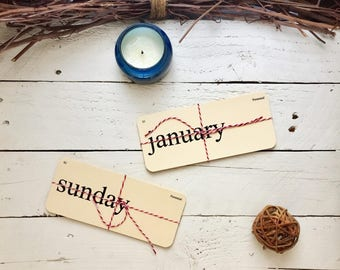 Flash Card - Month & Week Days - Family Command Center - 3.5 x7 cards with rounded corners