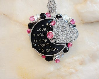Love You To The Moon And Back Heart Pendant