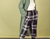 80s White Black Plaid Trousers Vintage Wool Punk Pants