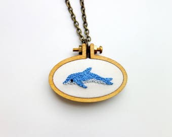 Embroidered Dolphin Necklace
