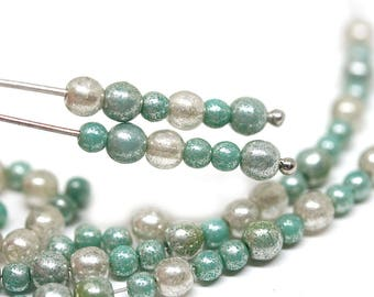 Turquoise Silver beads mix 4mm round glass beads 3mm small spacers Druk czech glass beads - approx.100pc - 1706
