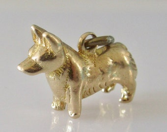 9ct Gold Corgi Dog Charm or Pendant