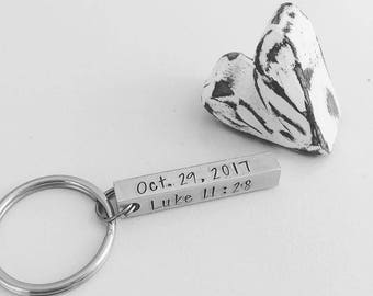 Hand Stamped Personalized Bar Keychain - Hand Stamped Bar Keychain - Baptismal Gift - Bible Verse KeyChain - Aluminum Bar Keychain