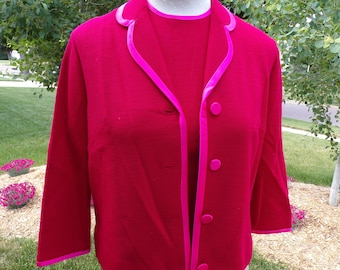 butte knit RED SHELL and JACKET cardigan with pink satin piping S