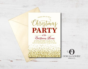 christmas party invitation red and gold holiday party invite faux glitter red - Corporate Holiday Party Invitations
