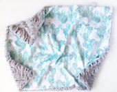 Mint Cactus - Baby girl boy unisex gender neutral lovey security double minky blanket white turquoise modern boho personalized embroidered