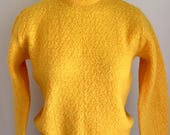 Vintage 1950s 1960s Bobbie Brooks Misses' Yellow Mohair Wool Sweater