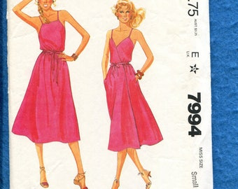 Vintage 1982 McCalls 7994 Wrap Sun Dress with Can Be Worn Two Ways Size Small 10/12
