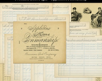 Penmanship Handwriting Practice Vintage School Book Pages Digital Download JPG Format