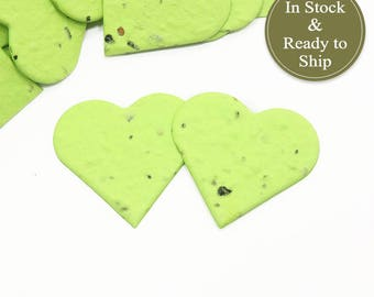 Bright Lime Green Plantable Seed Paper Confetti Hearts - READY-TO-SHIP - Wedding Favors, Bridal Shower Favors, Baby Shower Favors