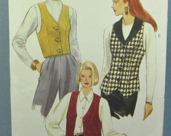 Semi Fitted Lined Vest With princess Seams And Low Armholes Plus Size 18 20 22 Sewing Pattern Vogue 8426