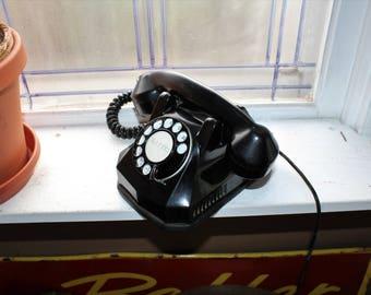 Vintage Art Deco Telephone Monophone Black Bakelite and Chrome