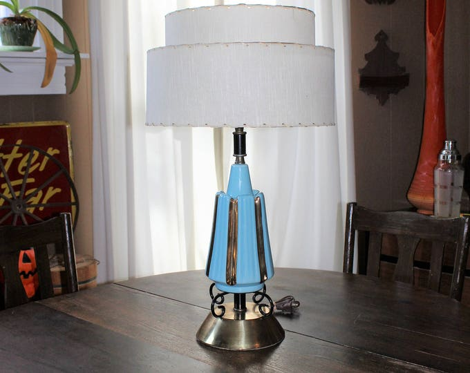 Vintage Mid Century Lamp and 2 Tier Shade Turquoise and Gold 1950s