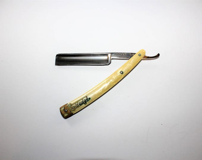 Antique Straight Razor Dubl Duck Goldedge Pearlduck Solingen Germany