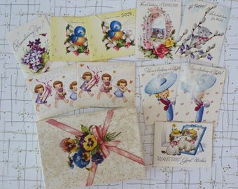 40's Mini Greeting Card Set of 10 Gift Tag Cards Cutest Kitten Angel Dogs Birthday Thinking of You