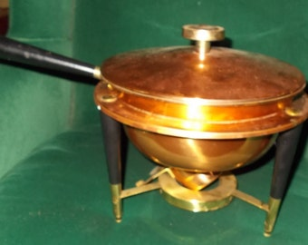 Copper Chaffing Dish Double Boiler Candle Warmer Serving Dish Fondue Pot Danish Modern Mid Century Vintage Copper Cookware